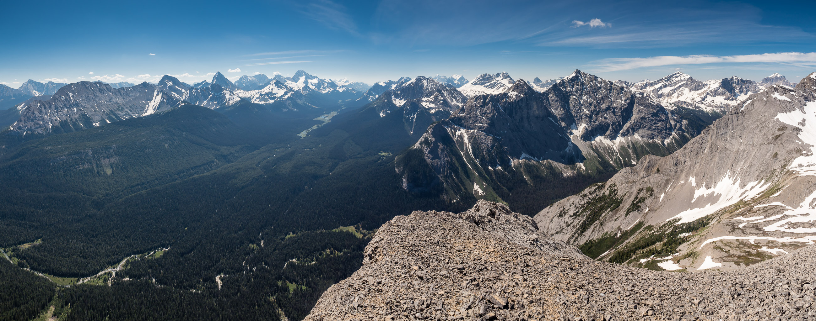 Views south off the south ridge with our approach visible at bottom left. Prominent peaks include (L to R), Shark, Smuts, Birdwood, Smutwood, Sir Douglas, Warre, White Man, Currie and Red Man Mountain.