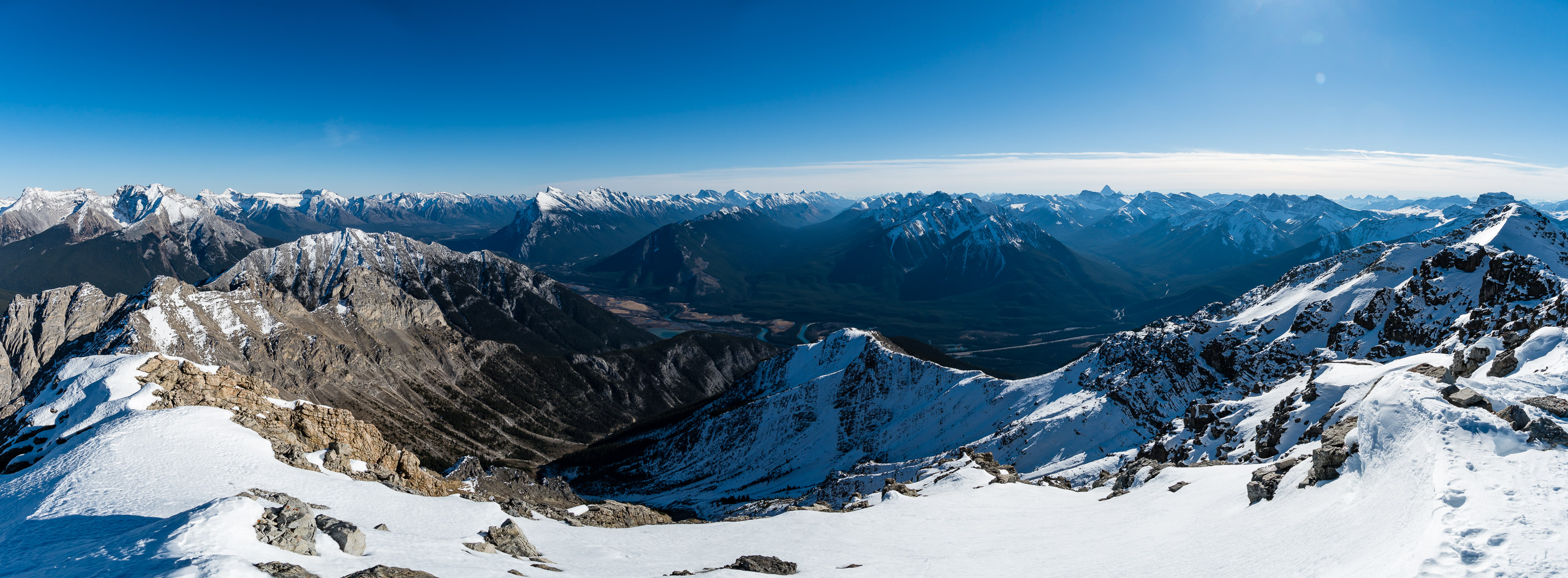 Summit views towards Banff. Assiniboine at distant center right.