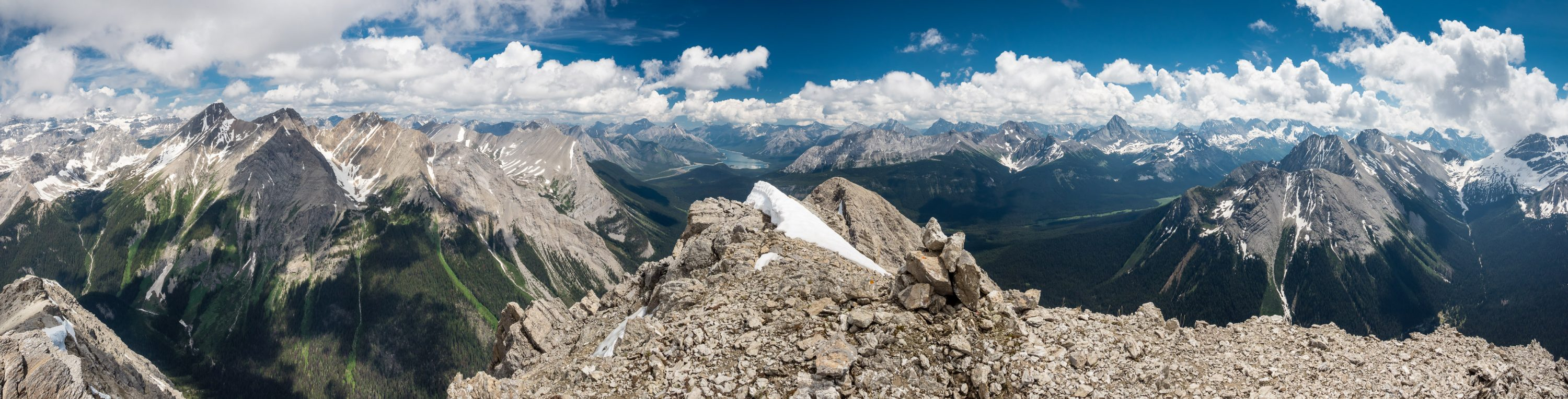 This is the view we were hoping for! From L to R summits include, Mount Assiniboine, Aurora Byng, Turner, Morrison, Spray Lakes, Shark, Smuts, Birdwood, Warre, Vavasour and Mount Sir Douglas in clouds beyond.