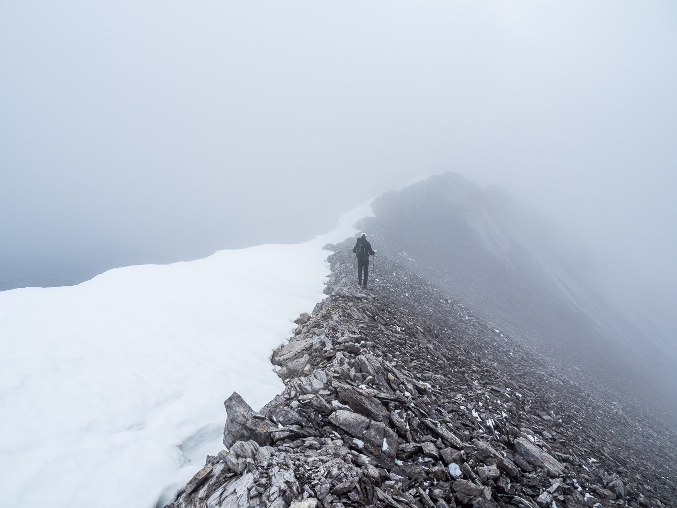 On the summit ridge.