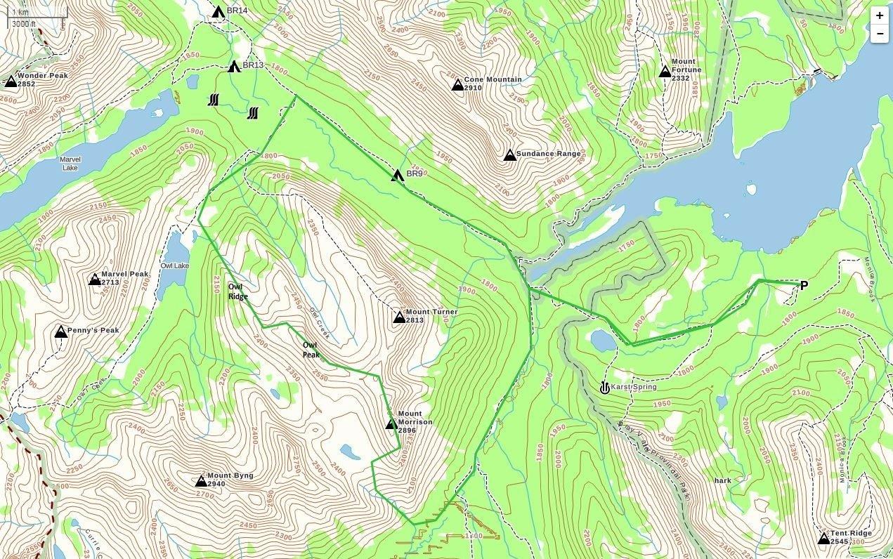 Mount Morrison Route Map