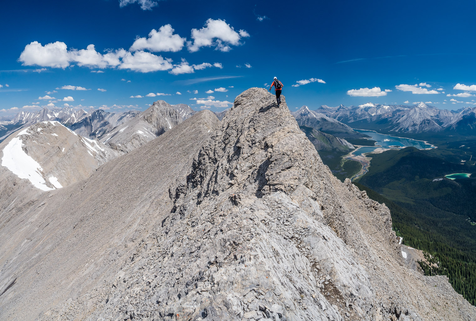 Some surprising exposure on the traverse. The options were exposure or steep slabs with scree to our left.