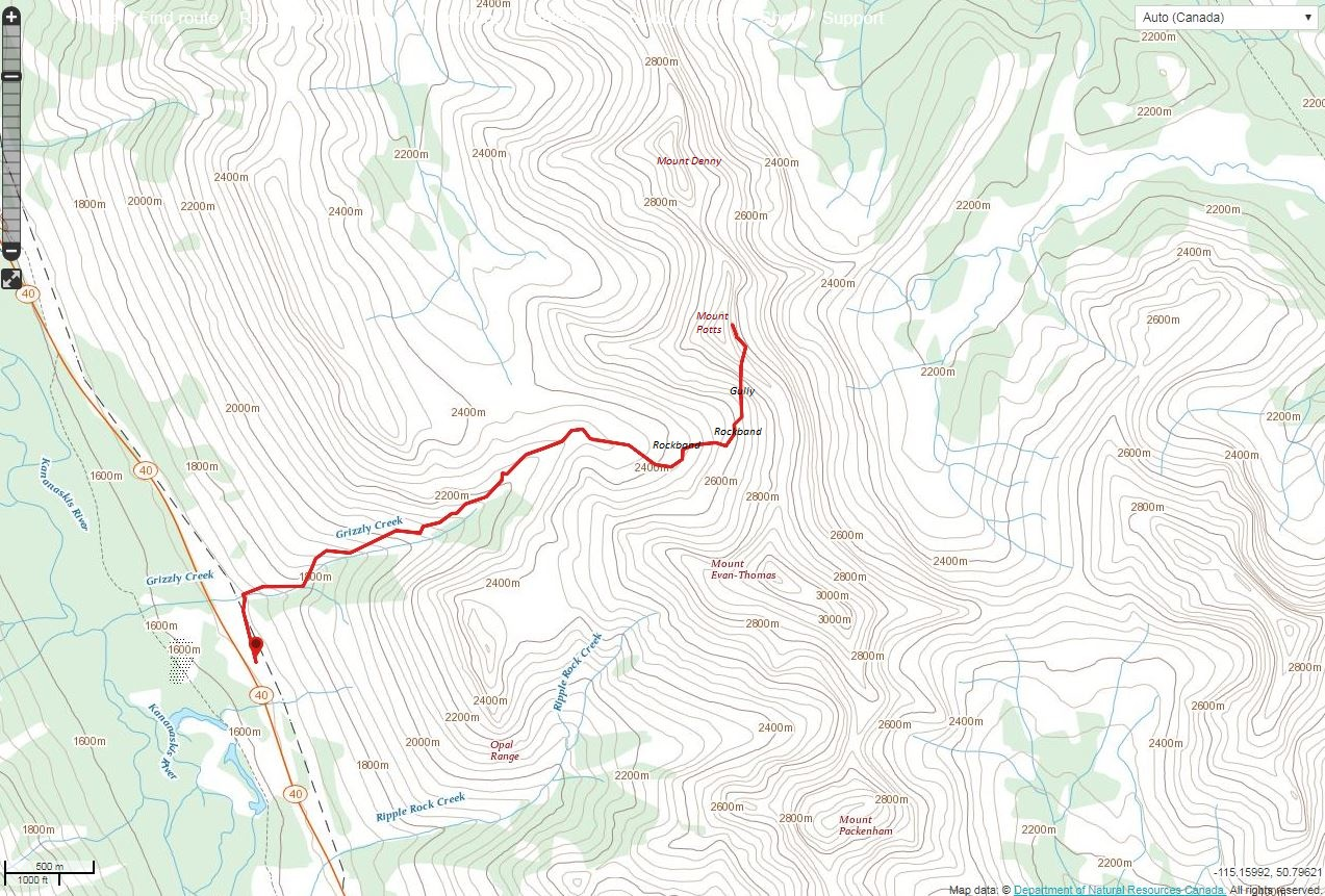 Mount Potts Route Map
