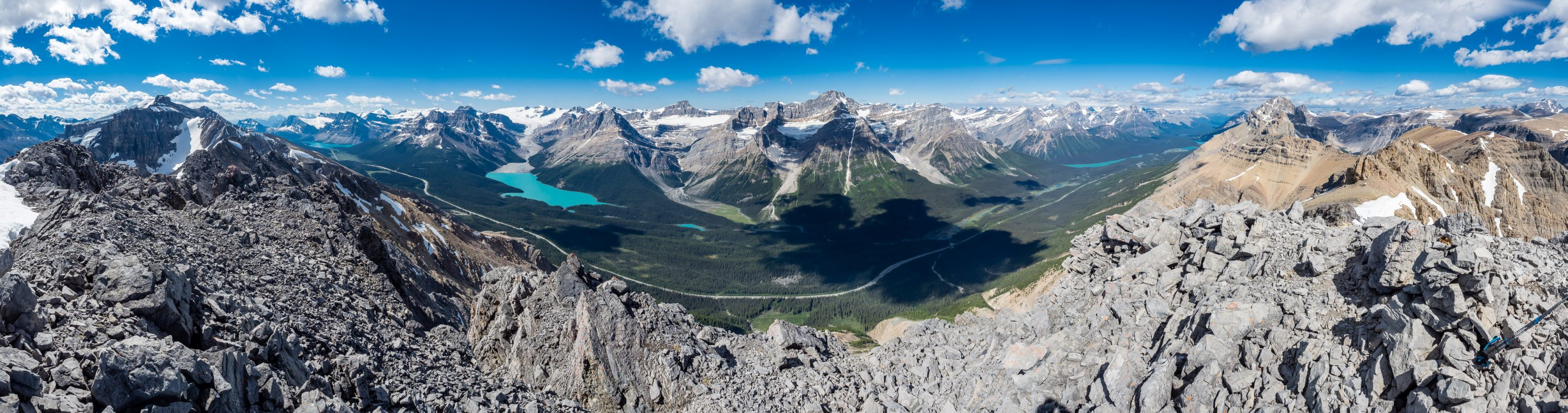 Great views from Silverhorn looking south (L), west (C) and north (R) along the Icefields Parkway including Bow Lake, Peyto Lake, Mistaya Lake and part of Waterfowl Lake (L to R).