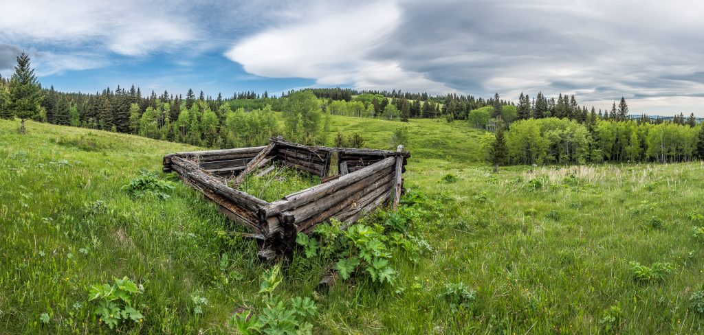 A panorama of the upper Smith homestead showing why they built it here - a sublime meadow above Beauvais Lake.