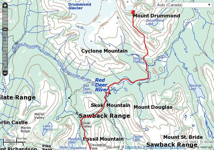 Mount Drummond Route Map