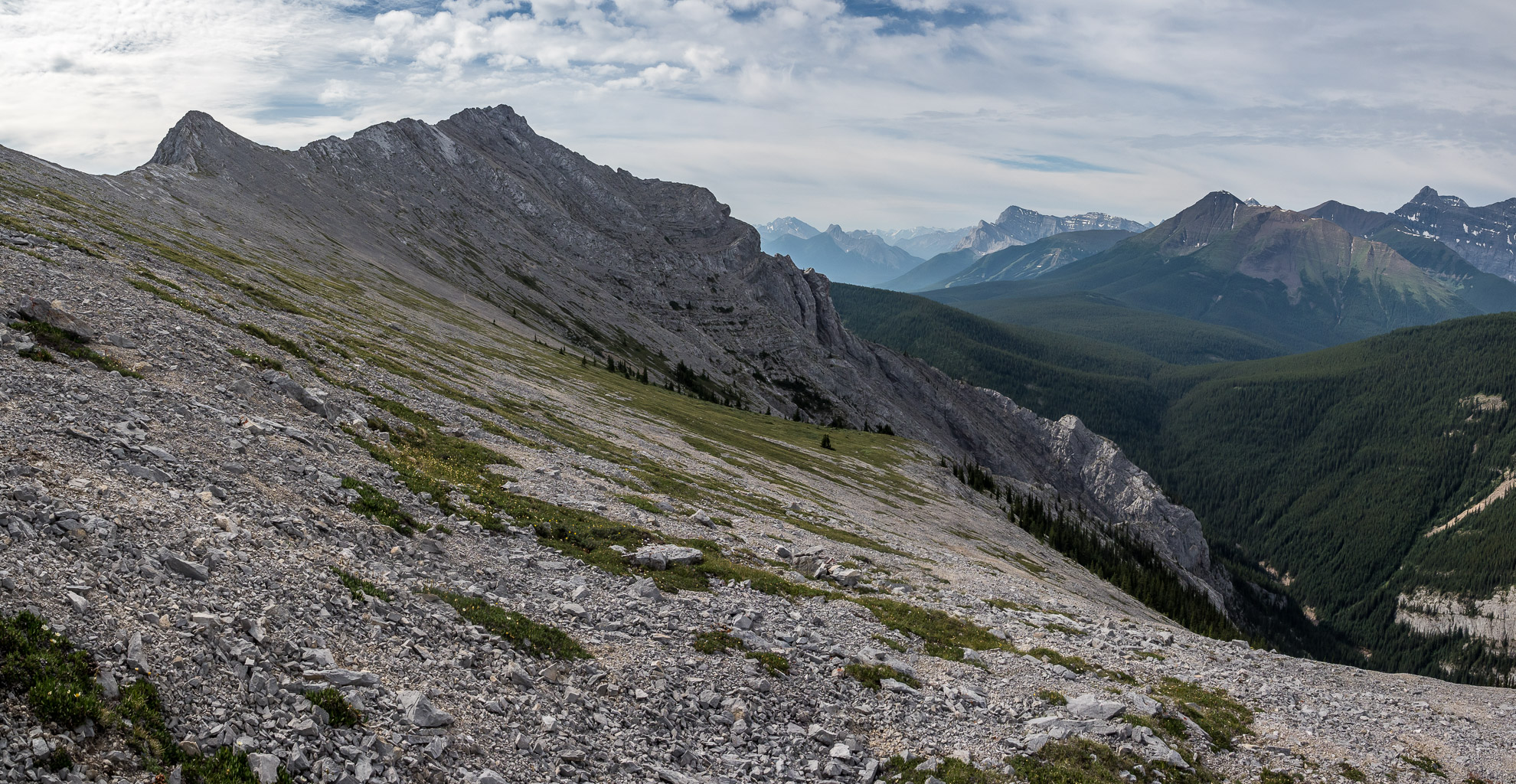 A great view from the top of the gully, looking ahead to the summit.