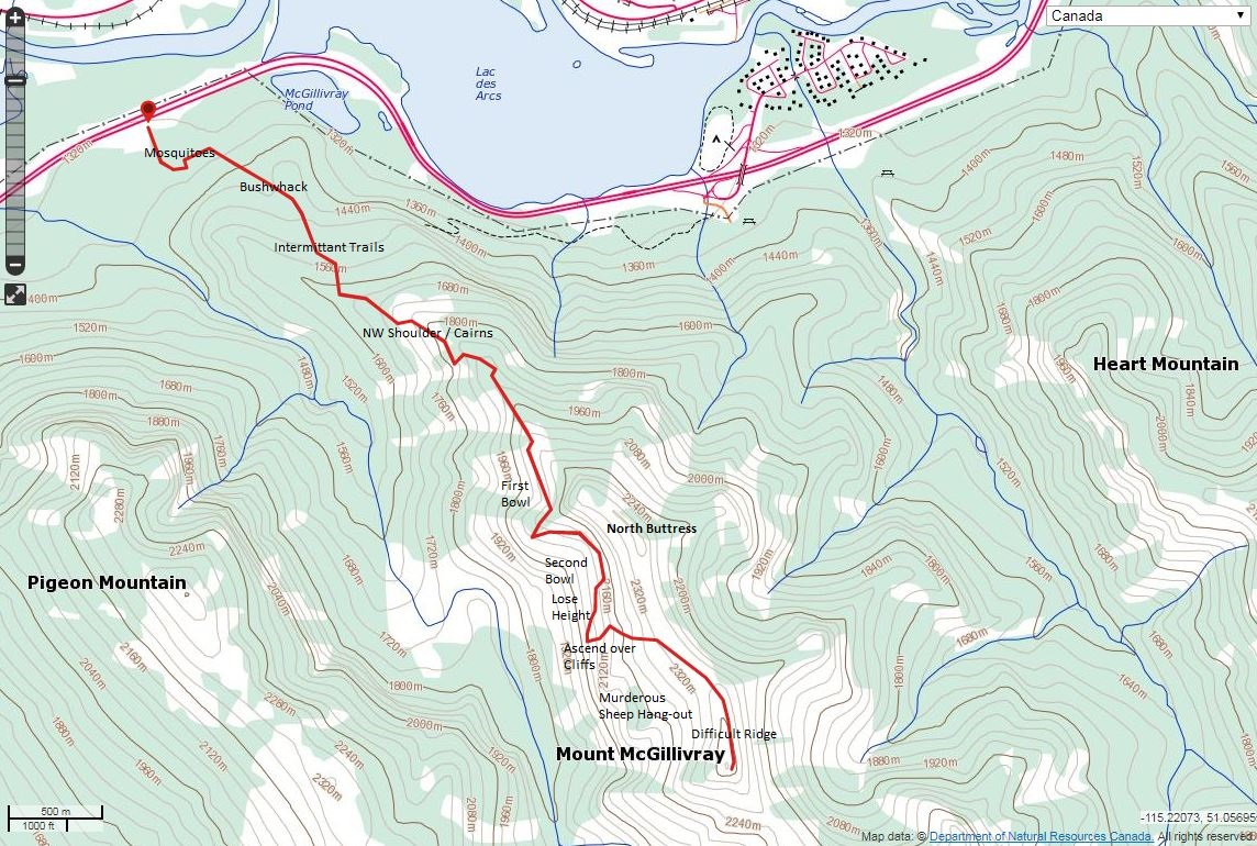 Mount McGillivray Route Map