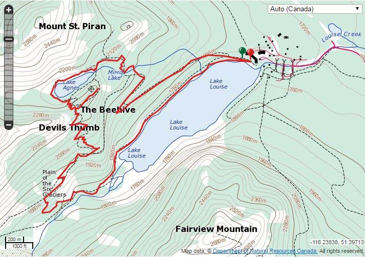 lake agnes teahouse hike map Beehive The Lake Agnes Mirror Lake Explor8ion lake agnes teahouse hike map